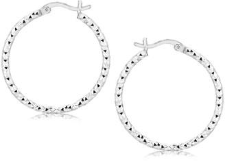 Overstock Sterling Silver Faceted Motif Hoop Earrings with Rhodium Plating