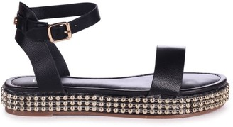 Linzi CALL ME BABY - Black Nappa Two Part Sandal With Studded Trim Detail