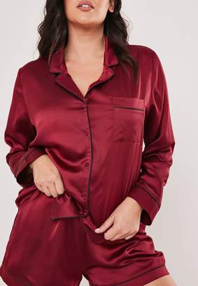 Missguided Plus Size Burgundy Satin Pyjama Shirt
