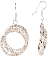 Natasha Accessories Triple Crystal Halo Drop Earrings