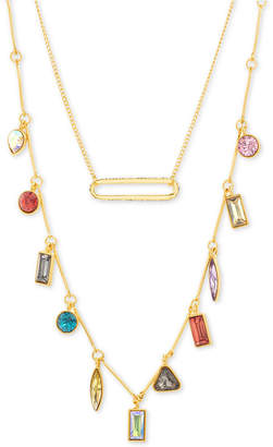 "Steve Madden Gold-Tone Pave Bar & Multicolor Rhinestone Layered Necklace, 16"" + 3"" extender"