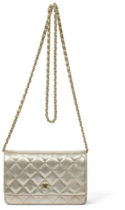 Chanel Metallic Beige Quilted Small Grained Canvas Timeless Single Flap Wallet On Chain