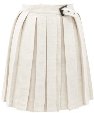 Art School Buckled Pleated Linen Mini Skirt - Beige