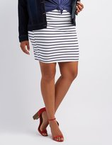 Charlotte Russe Plus Size Striped Bodycon Mini Skirt