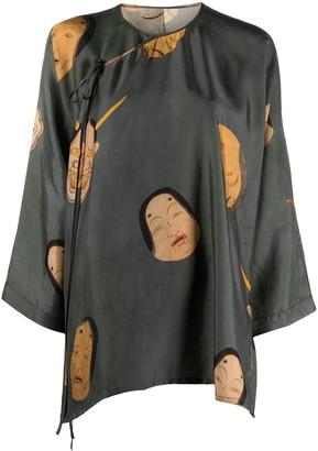 UMA WANG Embroidered Flared Blouse