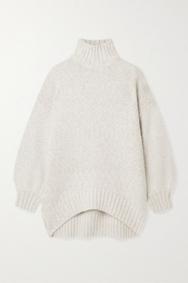 STAUD Charlotte Oversized Metallic Melange Knitted Turtleneck Sweater - Light gray