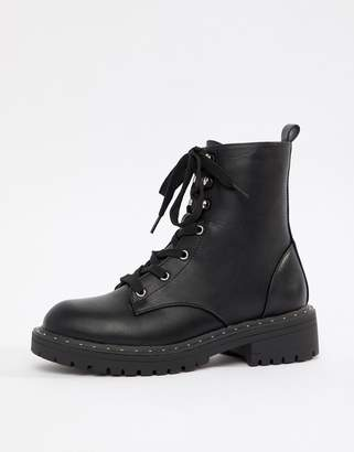 Truffle Collection Chunky Lace Up Ankle Boots-Black