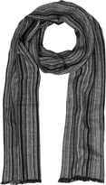 Mila Schon Black & Gray Stripe Wooden Fiber Fringed Long Scarf