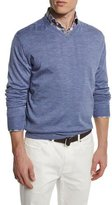 Peter Millar Silk-Blend V-Neck Pullover Sweater, Blue