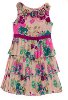 Hartstrings Girls 2-6X Tan & Purple Floral Pleated Dress