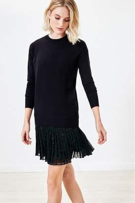 Oasis Womens Black 2-In-1 Animal Jumper Dress - Black