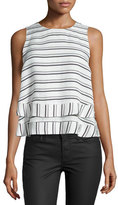 Rebecca Minkoff Marie Striped Flyaway-Back Top, Chalk/Multi