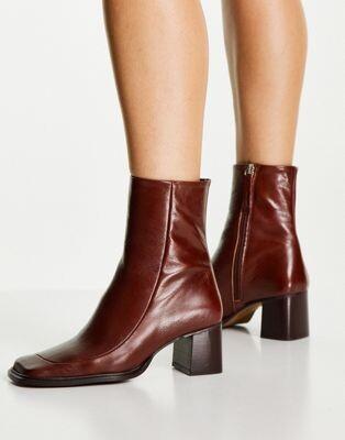 ASOS DESIGN Roberta premium leather square toe boots in brown