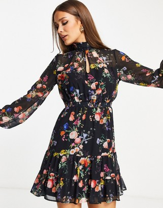 Lipsy long sleeve mini dress in floral