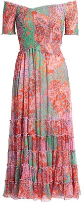 Poupette St Barth Soledad Smocked Bodice Floral Midi Dress