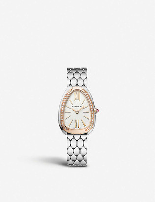 Bvlgari 103143 Serpenti Seduttori rose gold-plated stainless steel and diamond watch