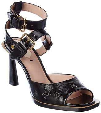 Fendi Ff Karligraphy Leather Sandal