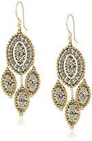 Miguel Ases Pyrite Marquise Leaf Chandelier Drop Earrings