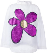 Christopher Kane long sleeve flower top - women - Nylon/Polyester - 40