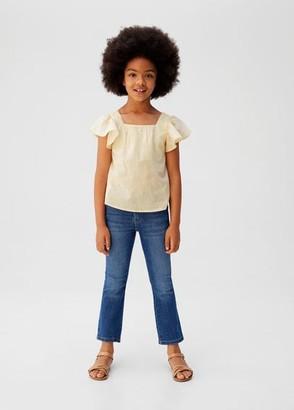 MANGO Ruffled cotton blouse