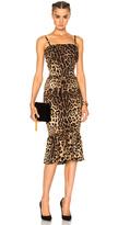 Dolce & Gabbana Cady Stretch Leopard Print Dress