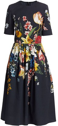 Oscar de la Renta Floral Stretch-Cotton Dress