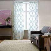 west elm Trellis Clipped Jacquard Curtain - Seaglass