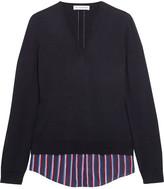 Altuzarra Colbert Striped Silk-trimmed Merino Wool Sweater - Navy