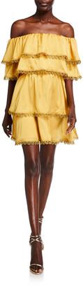 Mestiza New York Off-the-Shoulder Tiered Ruffle Mini Dress