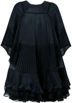 Chloé plisse pleat ruffled trapeze dress