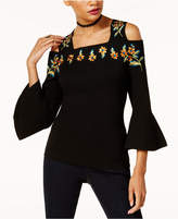INC International Concepts Petite Embroidered Cold-Shoulder Sweater, Created for Macys'