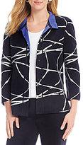 Ming Wang Convertible Collar Embroidered Jacket