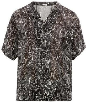 Saint Laurent Dot-print Semi-sheer Shirt - Black