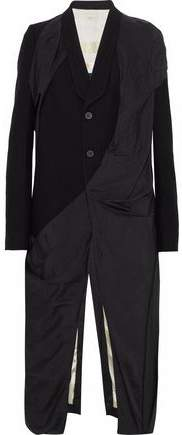 Rick Owens Draped Shell-Paneled Wool Coat