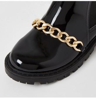 River Island Girls Patent Chain Boot-Black