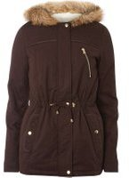 Dorothy Perkins Womens **Tall Chocolate Short Parka coat- Brown