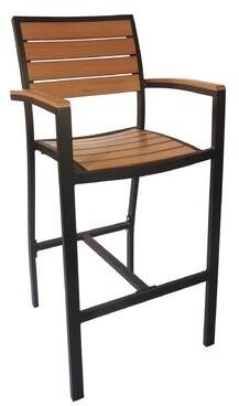 """BFM Seating Largo 30"""" Teak Patio Bar Stool BFM Seating"""