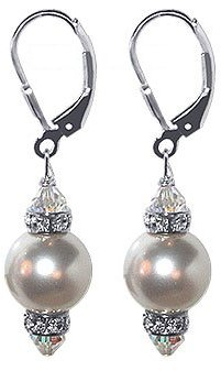 Swarovski Sterling Silver 10mm white Pearl Crystal Rondelle Leverback 1.5 Inch Long Drop Earrings Made with Elements