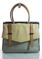 Reed Krakoff Green Ivory Leather Gunmetal Tone Hardware Boxer Tote Handbag