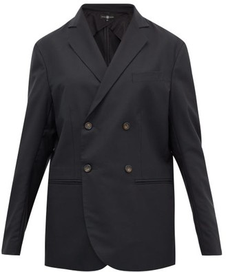 Edward Crutchley Double-breasted Wool-crepe Blazer - Black