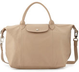 Longchamp Le Pliage Cuir Handbag with Strap, Greige