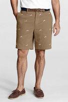 Lands' End Men's Regular 9 Plain Front Embroidered Spring Chino Shorts