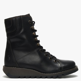 Fly London Same Black Leather Low Wedge Lace Up Ankle Boots