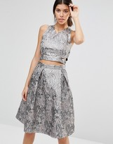 True Decadence Metallic Crop Top in Jacquard
