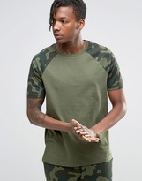 Asos Loungewear T-Shirt With Camo Print Sleeves