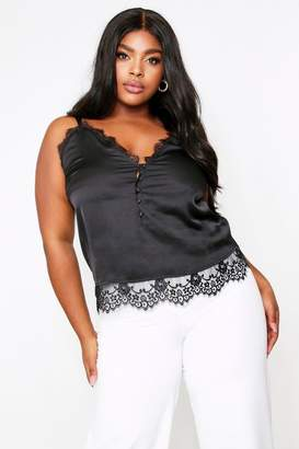 boohoo Lace Trim Button Front Satin Cami Top