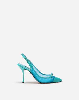 Dolce & Gabbana Sling Back Shoes In Iguana Print Leather And Mesh
