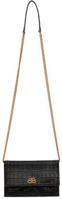 Balenciaga Black Croc Sharp Chain Shoulder Bag