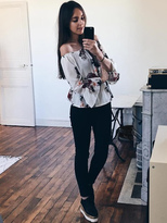 Shein Florals Off Shoulder Flute Sleeve Blouson Top