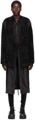 Comme des Garcons Black Wool Faux-Fur Coat